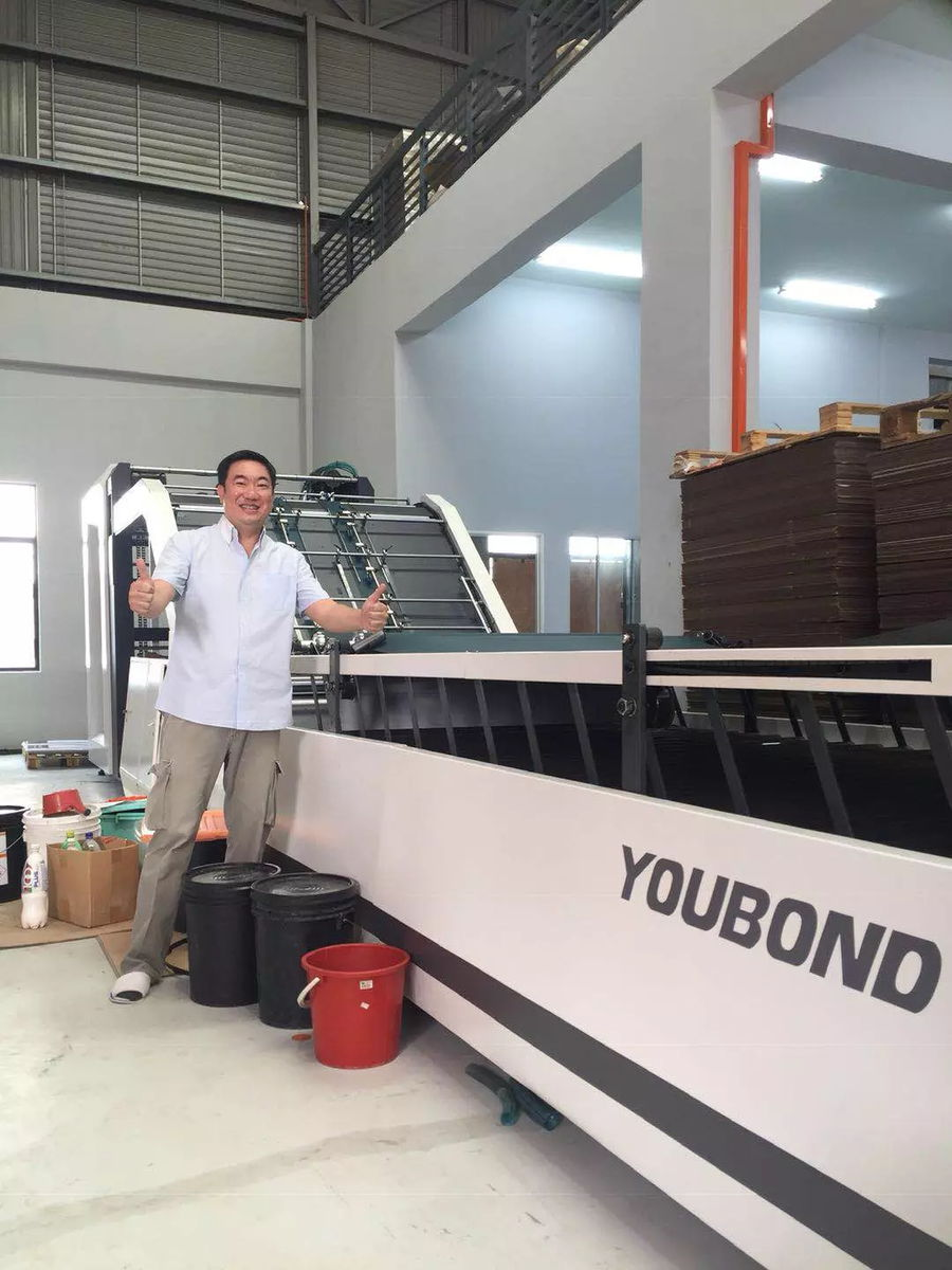 The automatic laminating machine installed in Malaysia