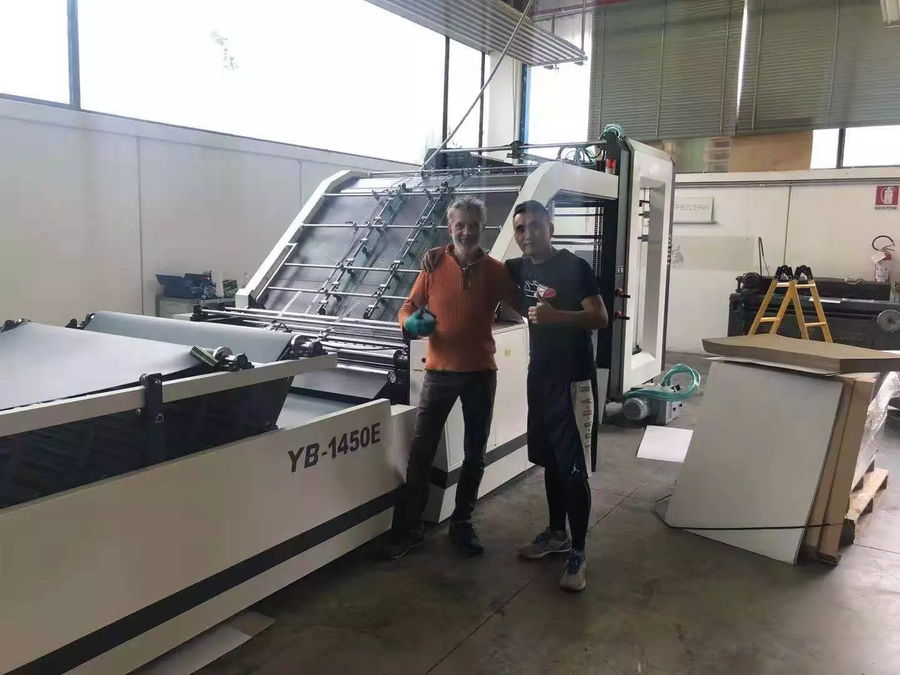 YB-1450E Automatic Flute Laminating Machine Installed in Italy