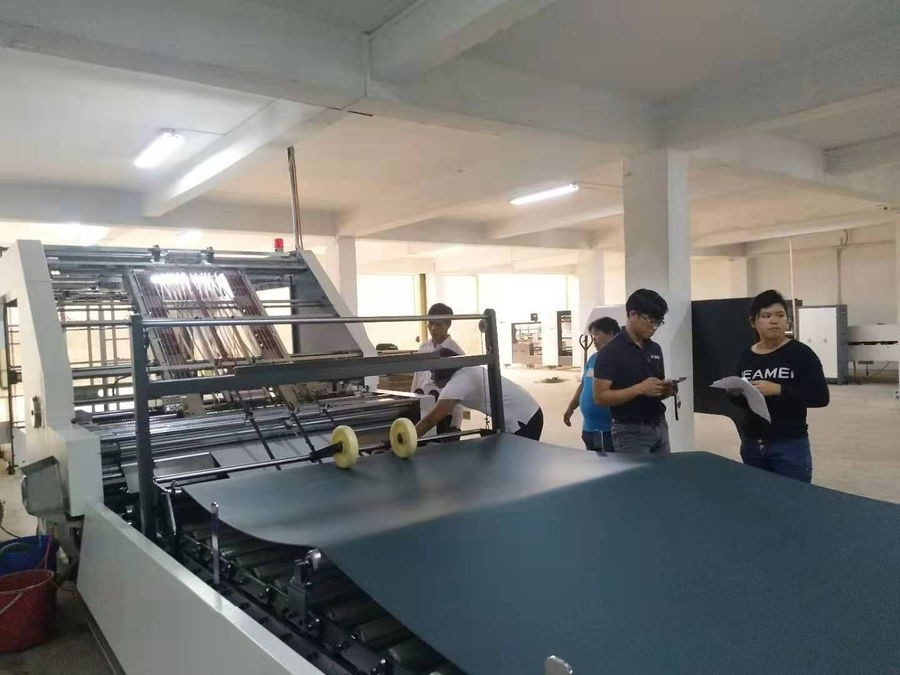 YB-1650HS High Speed Flute Laminating Machine With Auto Pile Turner and Stacking Machine Installed in Indonesia
